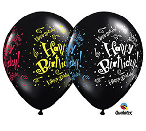 Black Birthday 11 inch Latex Balloon