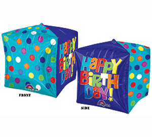 Colorful Cube 3D Shape Happy Birthday Mylar Balloon 15 inch