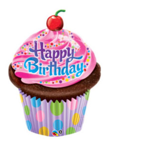 Colorful Cupcake Shaped Happy Birthday Mylar Balloon 35 inch