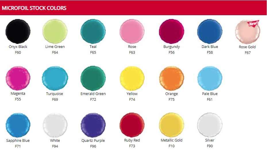 Balloon Color Chart - Microfoil Colors