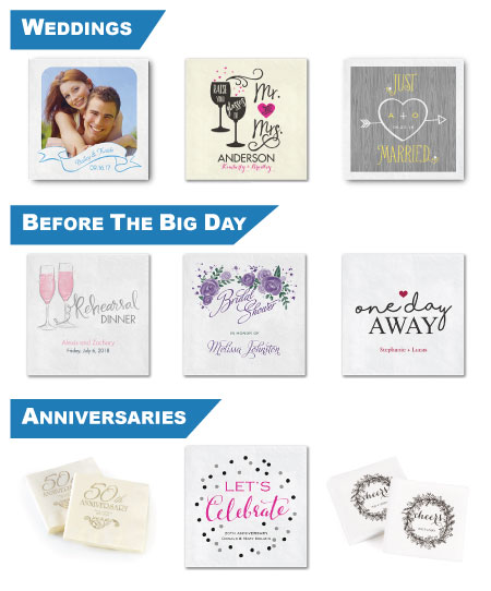Custom Full Color Photo Printed Napkins for Weddings, Bridal Showers, Rehersal Dinners, Celebrations, Parties, Events, Anniversaries, 50th Wedding Anniversary
