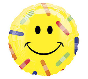 Smilie with Bandaids Get Well Soon Mylar Balloon 18 inch