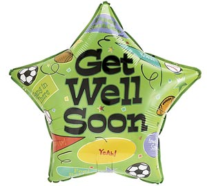 Star with Sports Get Well Soon Mylar Balloon 18 inch