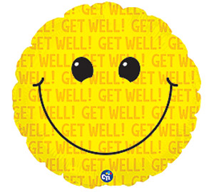 Smilie with Text Get Well Soon Mylar Balloon 18 inch
