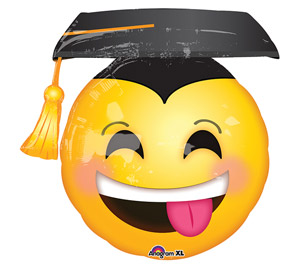 smiley with tongue out with grad hat mylar balloon 36inch yellow