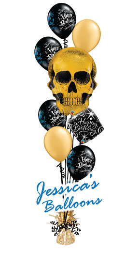 Balloon Bouquet Gold Skull