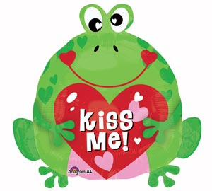 Kiss Me Frog with Heart 18 inch Mylar Balloon