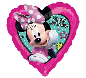 Minnie Mouse Heart Happy Birthday Mylar Balloon 18 inch