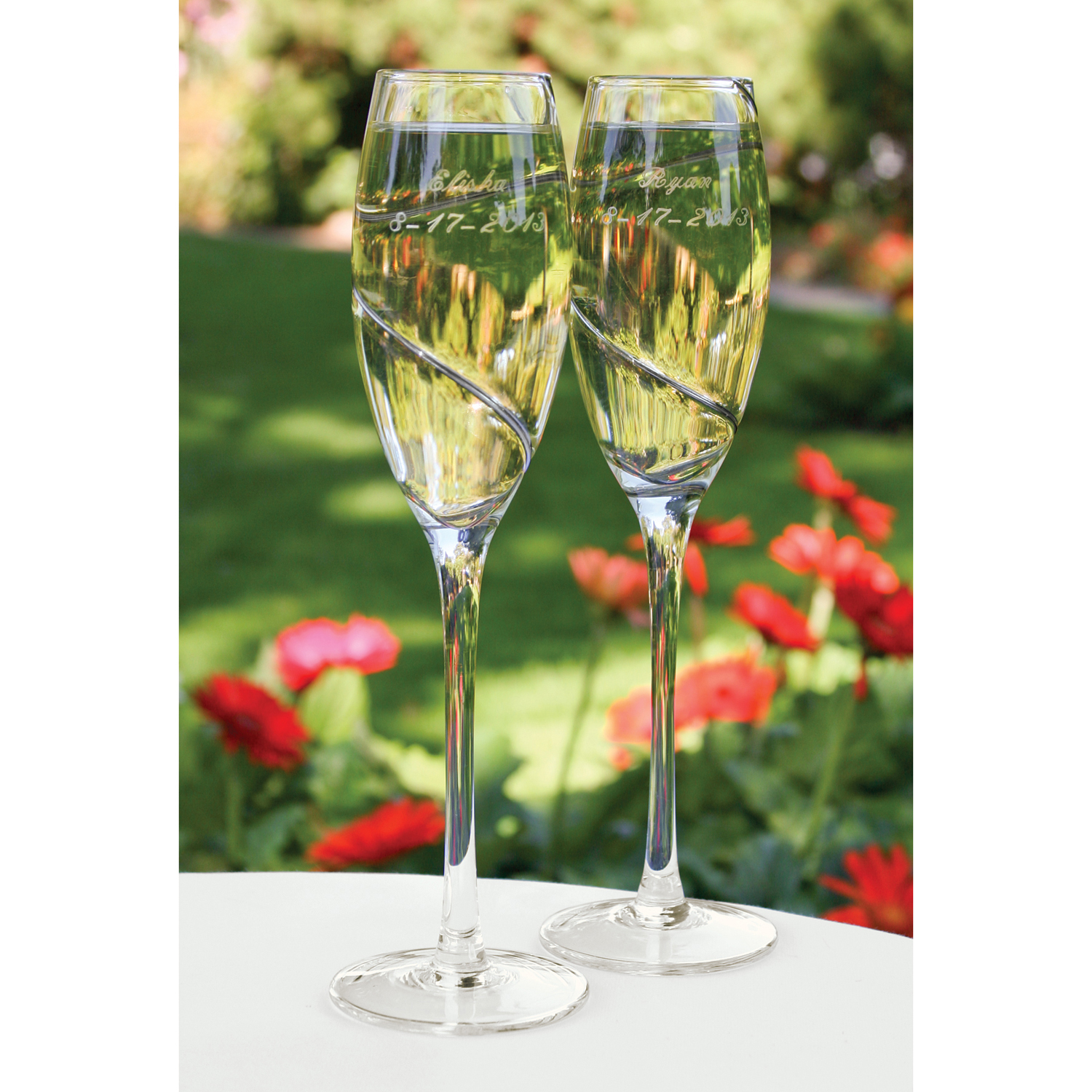 Personalized Engraved Wedding Champange Flutes with Platinum Swirl