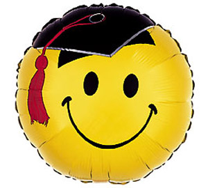 smiley with grad hat mylar balloon 18inch yellow
