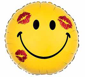smiley with kisses mylar balloon 18inch yellow
