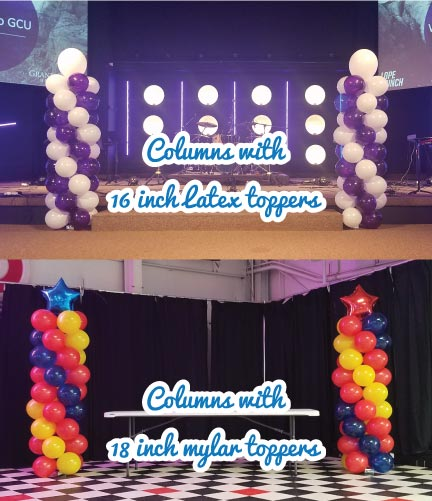 Spiral Balloon Columns with 36 Balloons Each, 16inch Latex Topper & 18inch Mylar Toppers