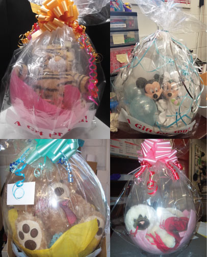 Create Your Own Stuffed Balloon, Stuffed Animal, Wine Bottle, Shoes inside of clear balloon, includes bow and cellophane bag and colored stuffing